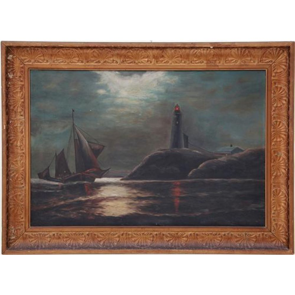 c1900 Lighthouse In Moonlight Oil Painting by Louis Dianni