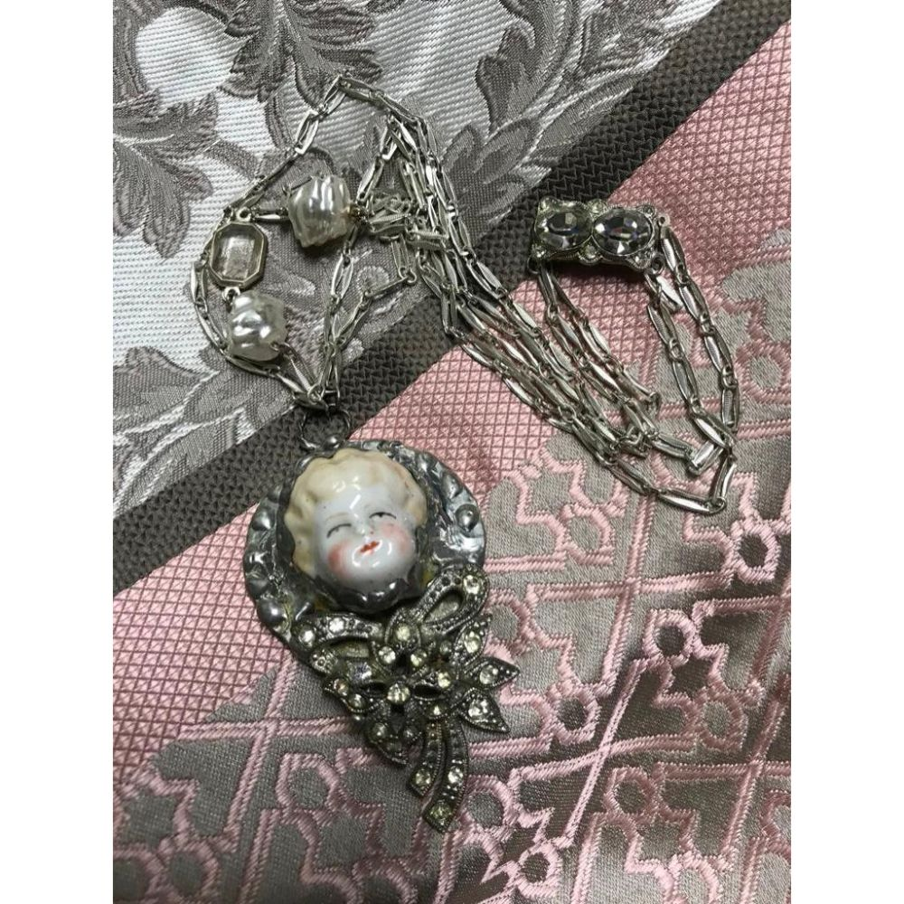 Mixed Media, Re-purposed, Belle Epoque China Head Doll Art Necklace