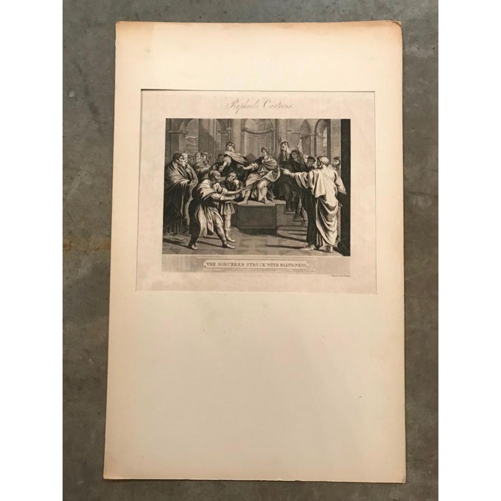 Early 19thc British Engraving, After Raphael, The Sorcerer Struck With Blindness