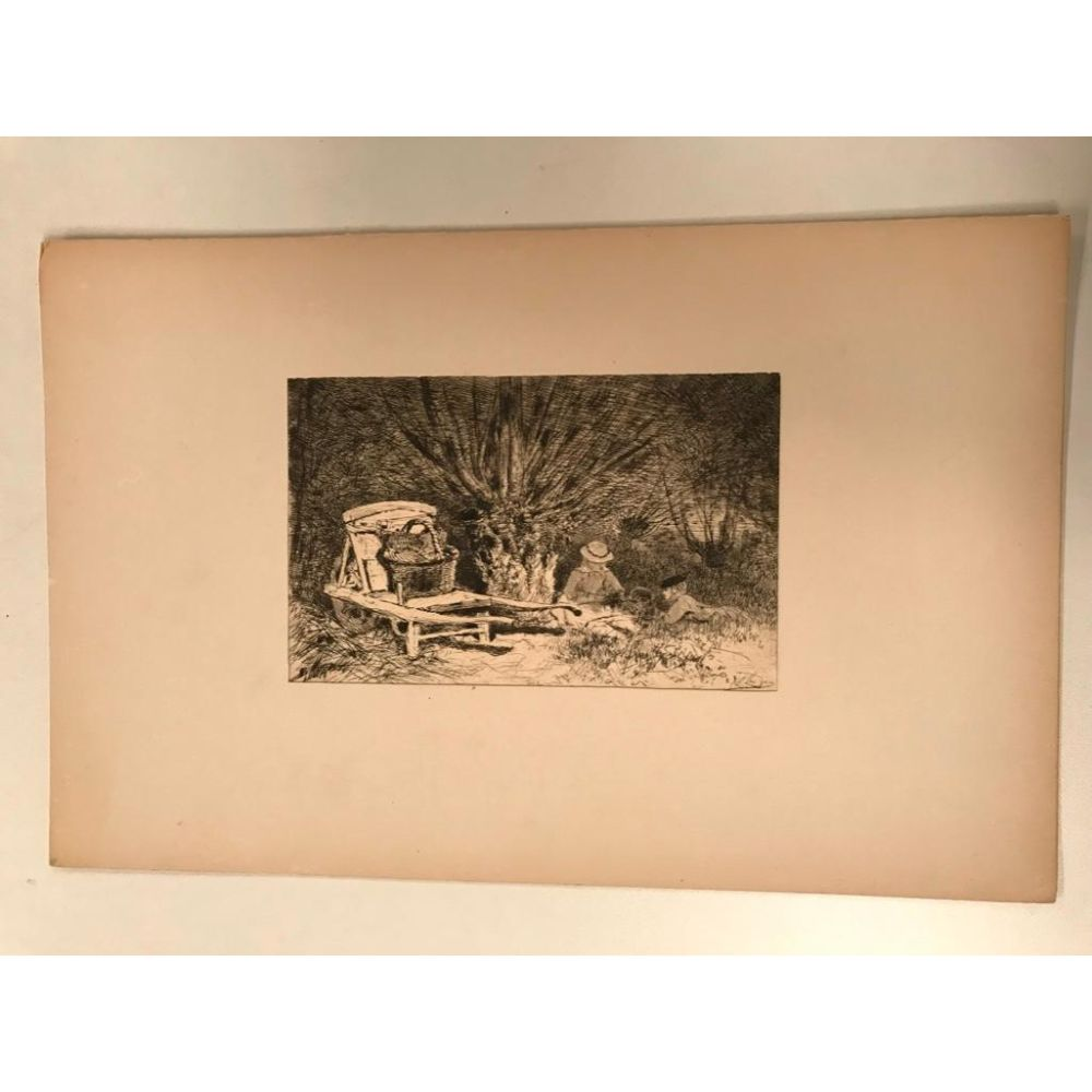 Original 19thc French Etching, Dry Point Engraving by Edmond Yon