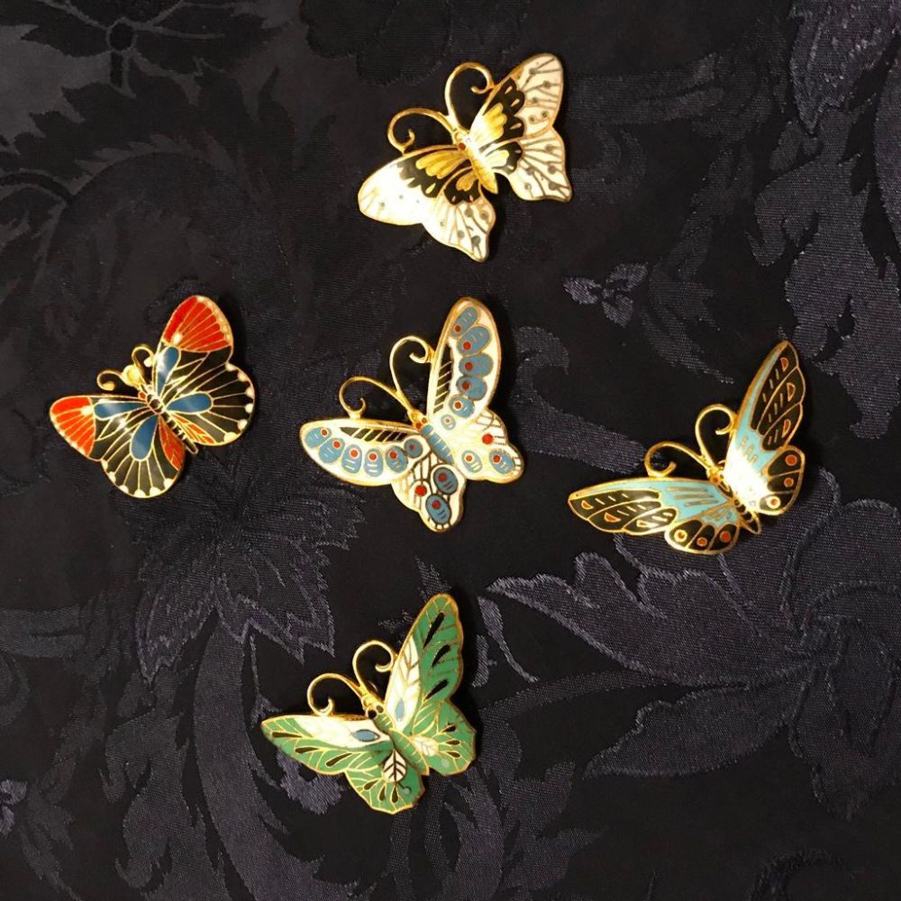 Grouping of Vintage Cloissone Butterfly Pins, Pendants, Brooches