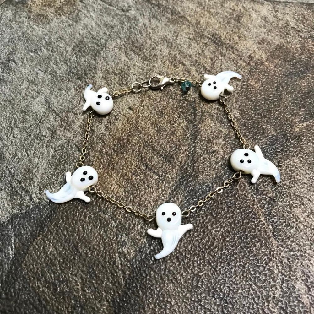 Hand-made Blown Glass Ghosts Haints Sterling Silver Bracelet