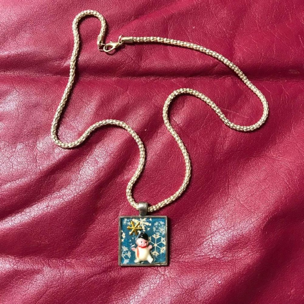 Hand-made Artisan Re-purposed Mixed Media Snowman Necklace