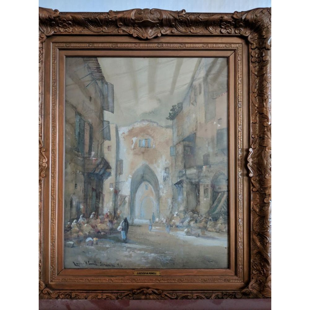 Original Oil on Canvas 'Market Day' by Lucien W. Powell