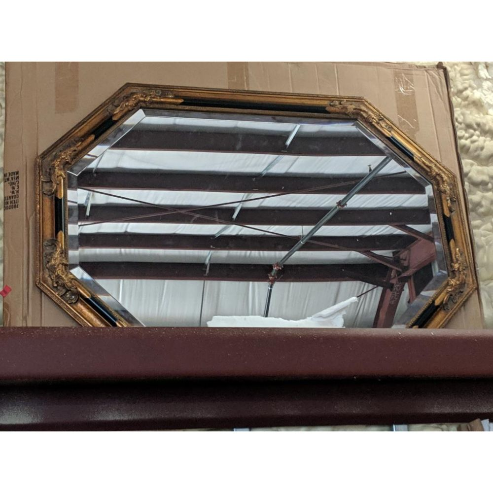 Octagon Neoclassical Gold and Black Gilt Framed Mirror