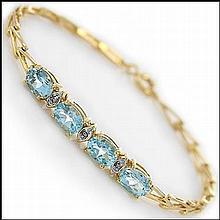 Blue Topaz, Diamond Bracelet.