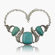 Silver-tone & Turquoise Bib Necklace