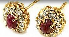 2.45 CT Ruby & Diamond Designer Earrings