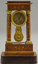 French Rosewood Portico Clock, c. 1900, string- an