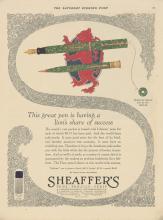 c1920's Sheaffers Pens Advertisement
