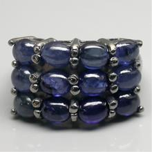 Modern Cabochon Sapphires Sterling Silver Ring