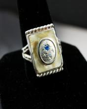 Art Deco Mother of Pearl & Sterling Men's Ring
