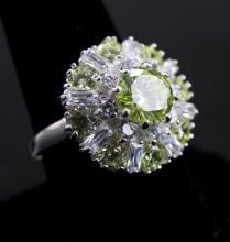 Sparkling Lime Citrine & Topaz Floral Ring