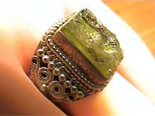 4ct Moldavite Meteorite & Sterling Ring