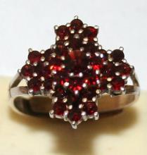 Adjustable Garnet Cross Sterling Silver Ring