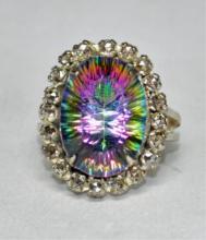 16.7ct Mystic Topaz & Diamond Sterling Ring