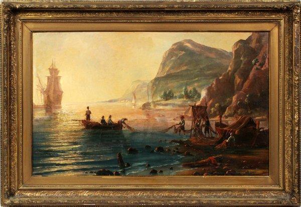 19thc Pietro Bello Seascape Oil Painting