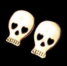 Golden Plated Retro Vintage Wishing Retro Earrings Stud Jewelry - Skull