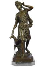 Signed Greek Goddess & Dog Bronze Sculpture