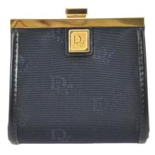 Authentic Christian Dior Blue Nylon Coin Purse