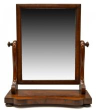 19thc French Empire Walnut Dressing Mirror