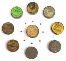 19thc Percussion Firearm Caps in 9 Original Tins