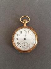 Late 19thc Waltham Gold Pocket Watch