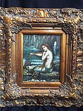 After Waterhouse, Mermaid, Oil on Board Painting