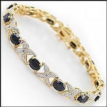 12 CT Black Sapphire & Diamond Bracelet