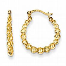14K Yellow Gold Beaded Hoop Earrings