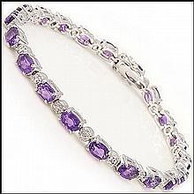 Amethyst, Diamond Bracelet