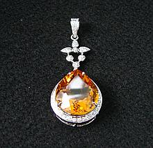 25.43 ct. Citrine & Diamond Pendant