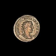 Ancient Roman silver antoninianus coin Philip I