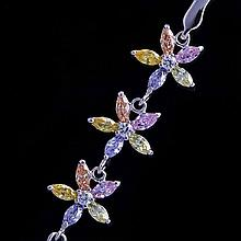 Star Flower Bracelet with Colored CZ Stones