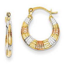 Tri-Color 14K Gold Hoop Earrings, Textured