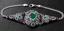 Unique Emerald & Pink Ruby Marcasite Bracelet