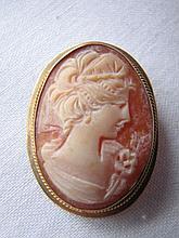 Vintage 9K Gold Cameo Brooch, Pin Hallmarked.