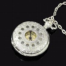 Silverplated Mens Pocket Watch, Chain