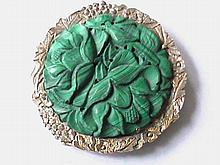 Vintage Silver, Carved Malachite Booch, Pendant