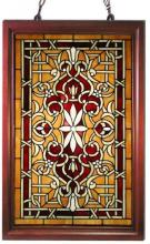 Tiffany-style Window Panel Stained Glass Wooden Frame Decorative Art
