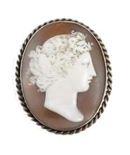 19thc Classical Carved Shell Cameo Pendant