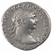 Ancient Roman Silver Coin Denarius Trajan