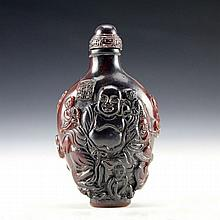 Vintage Hand Carved Ox Horn Buddha Snuff Bottle