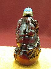 Chinese Ox Horn Carved Snuff Bottle
