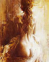 Oil on canvas of a seated female nude