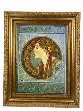 Porcelain Plaque With Gold Gilt Frame
