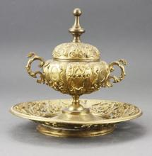 Late 19th Century Brass Continental Inkwell