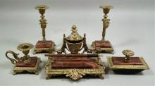19thc French Red Onyx & Gilt Metal Desk Set