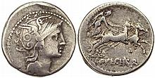 Roman Republic Claudius Pulcher 110-109 BC Silver