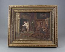 French 19th c. Parlor Painting, Oil on Panel
